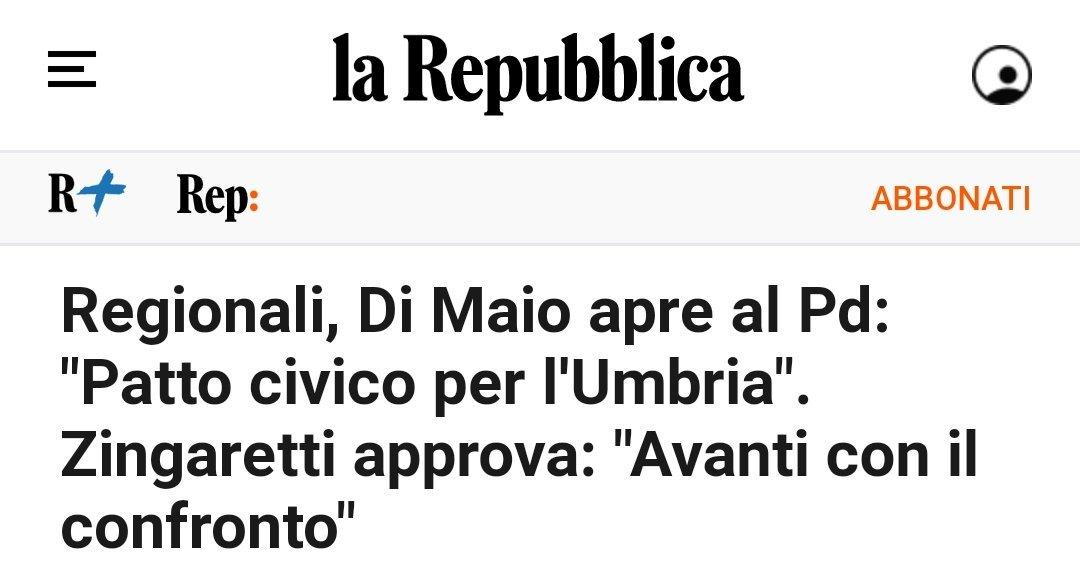 Pensavate di aver visto tutto? In #Umbria, la regione in cui arrestano segretario e assessore del #PD e indagano il Presidente della Regione (#PD pure lei), #DiMaio annuncia che il #M5S e pronto ad allearsi... con il #PD.😂 Al 2% vi voglio vedere!🤬 #lochiamavanoonestah