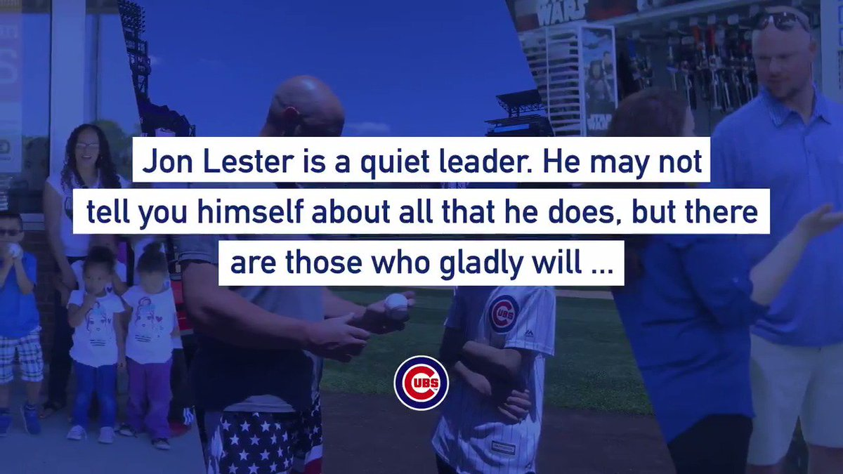 Jon Lester's impact reaches far beyond the diamond.  Congratulations to @JLester34, our 2019 Roberto Clemente Award nominee. #NVRQT