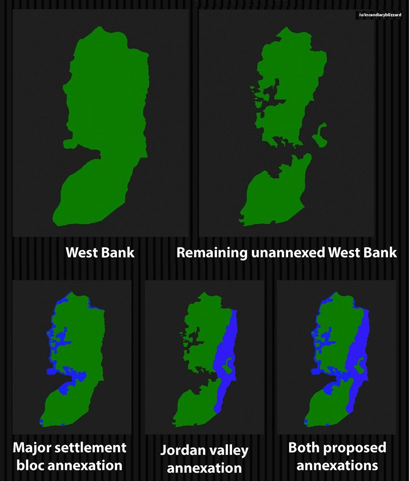This is what the West Bank would look like if Netanyahu makes good on his pledge to annex the major settlement blocs as well as the Jordan valley if he wins next weeks elections. Source: buff.ly/34OYoQb