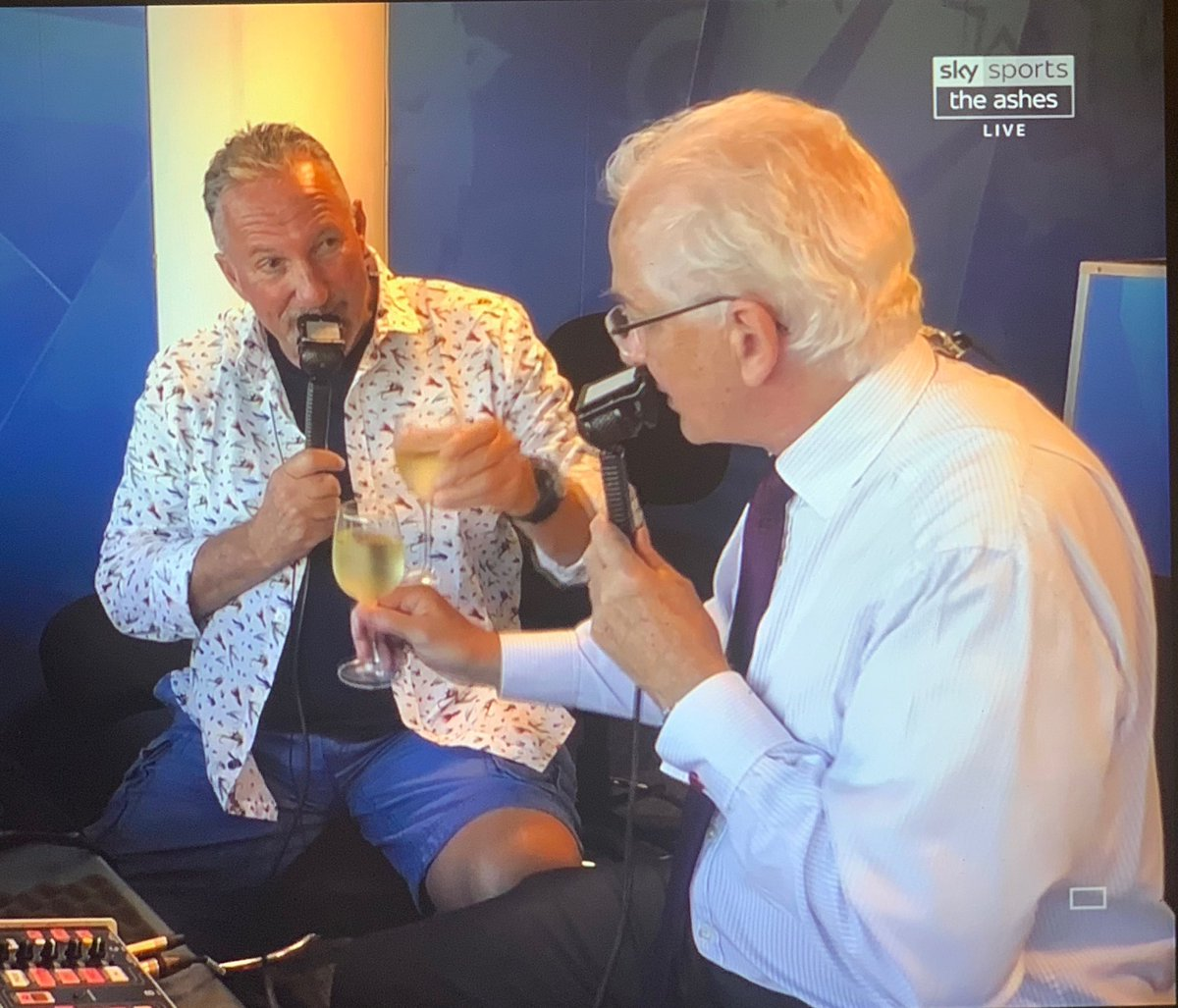 Amid the joy of a great summer of England cricket, a moment of real sadness. The final seconds of commentary from two absolute legends of the game. Thanks ⁦@BeefyBotham⁩ ⁦@David215Gower⁩ - you guys have been fantastic. 👍👏👏