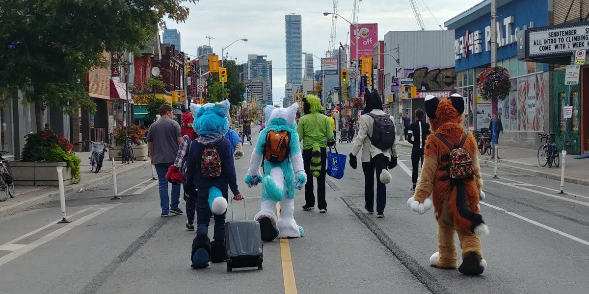 Had a nice meetup with local furries at #OpenStreetsTO @rkniner @Jinxthelynx<br>http://pic.twitter.com/QKENMM6Ggd
