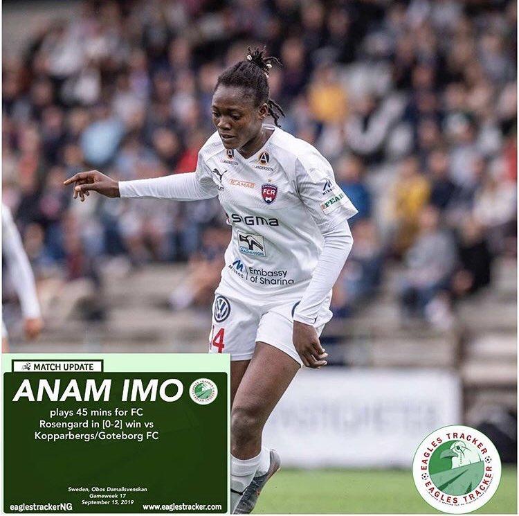 Super Falcons #Forward, Anam Imo @anam_imo played 45 mins for #rosengård @FCRosengard in their [0-2] #sweden #obos #damallsvenskan win vs #kopparbergsgöteborgfc ————————————- #eaglestracker #naijafootball #superfalcons #soarsuperfalcons #imo #anam #anamimo #fcrosengard <br>http://pic.twitter.com/7BWD5kP0q3