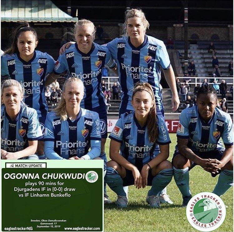 Super Falcons #midfielder, Ogonna Chukwudi played 90 mins as #djurgårdensif played out a goalless #sweden #obos #damallsvenskan draw against #linhamn #bunkeflo ———————————— #eaglestracker #superfalcons #match #update #naijafootball #athletebranding #footballbusiness <br>http://pic.twitter.com/0EisFoI9XU