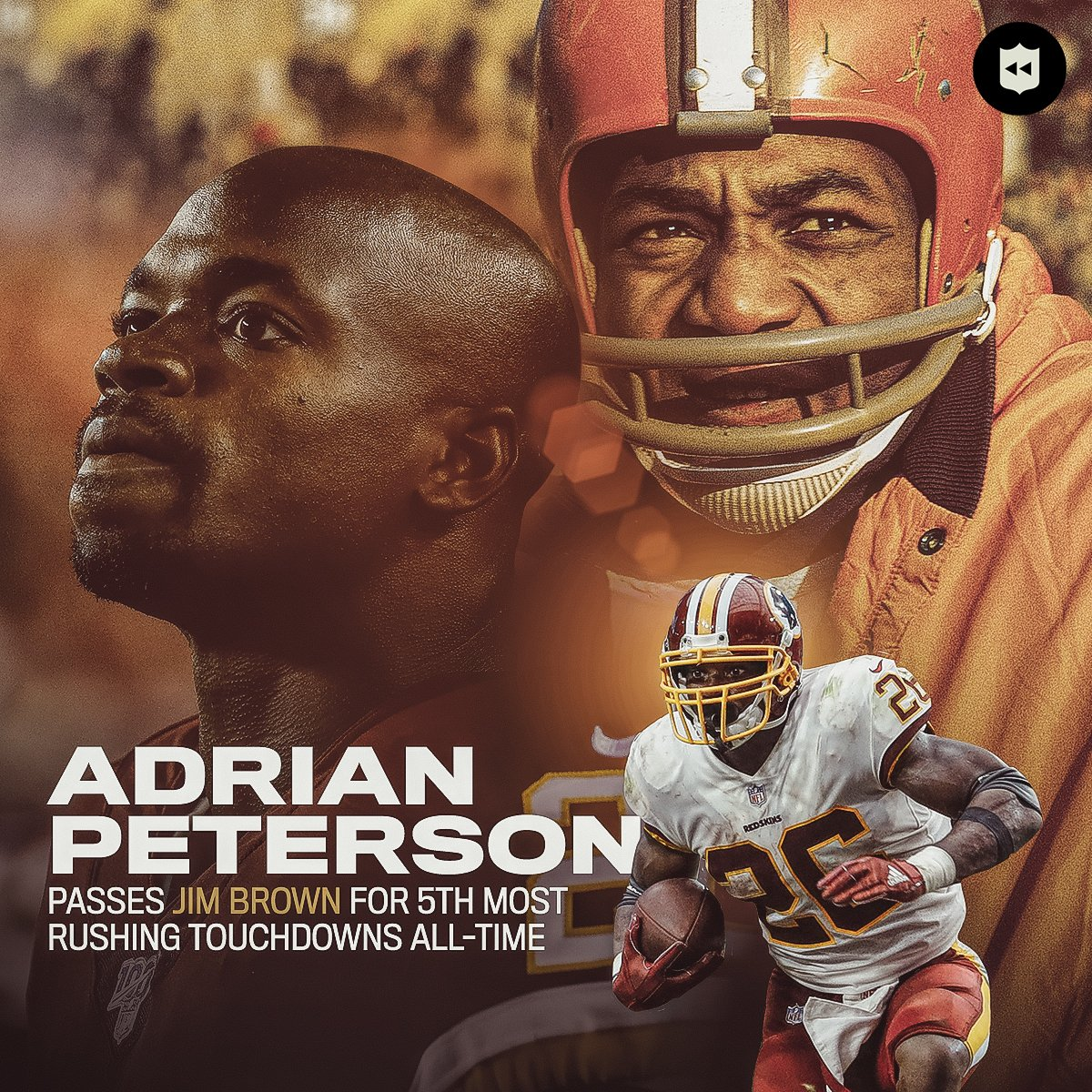 ALL DAY.@AdrianPeterson moves ahead of @JimBrownNFL32 in career rushing TDs. @Redskins