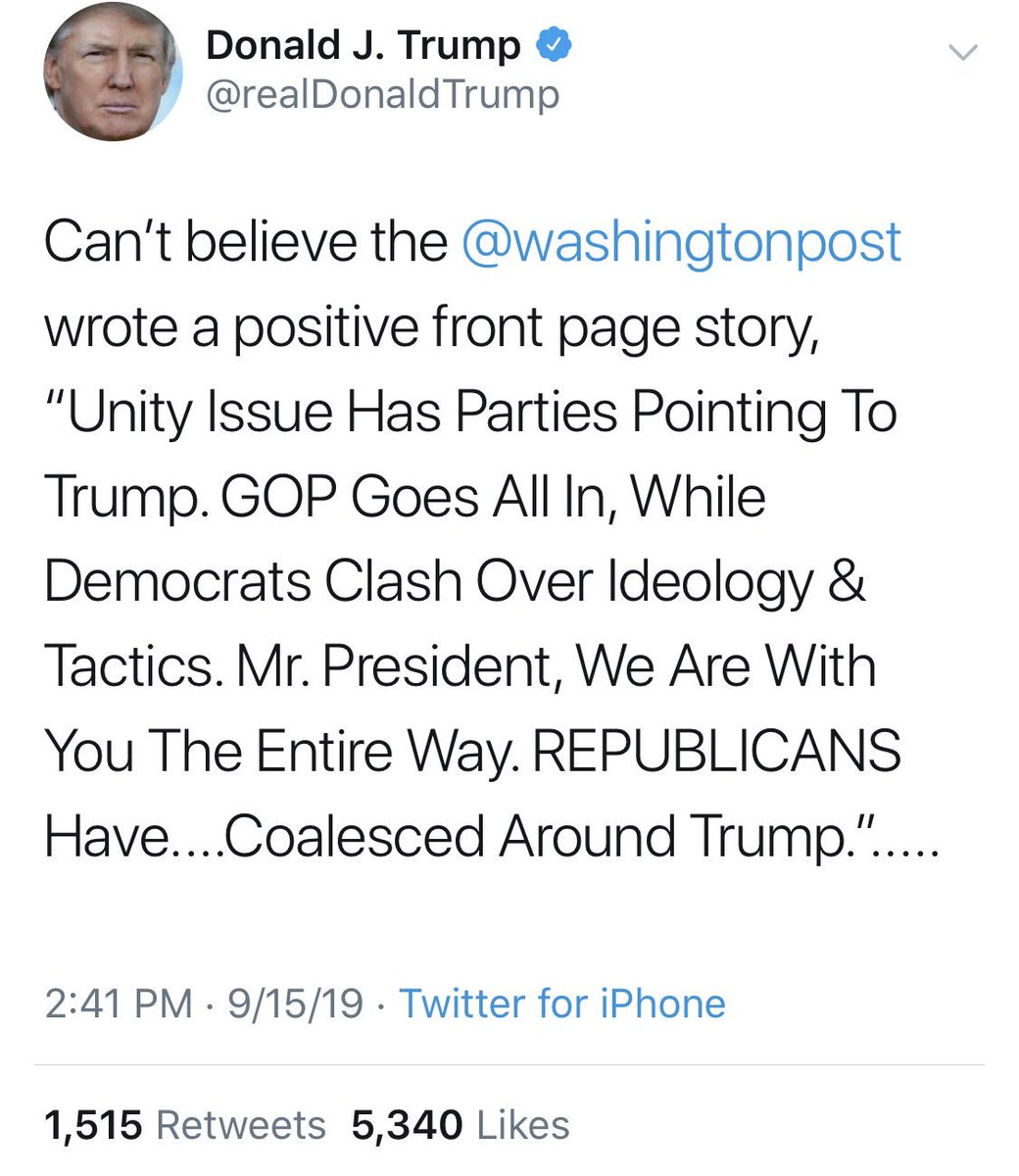 "1) The ""we are with you the entire way"" quote is from Kevin McCarthy, obviously not the Post itself. 2) This is the ""coalesced"" sentence: ""Republicans, meanwhile, have largely coalesced around Trump, but it's far from clear that the president has a winning message for 2020."" https://t.co/Lb3TAZ7tRT"