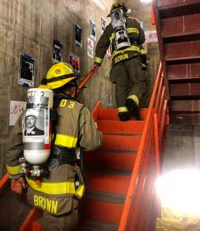 Every year, on September 11th, a group of firefighters climb 110 flights of stairs in full gear in remembrance of the first responders who gave their lives. 🇺🇸🙏🏻🚨__#911memorial #neverforget #forged #forgedclothing #iamforged #strengththroughadversity