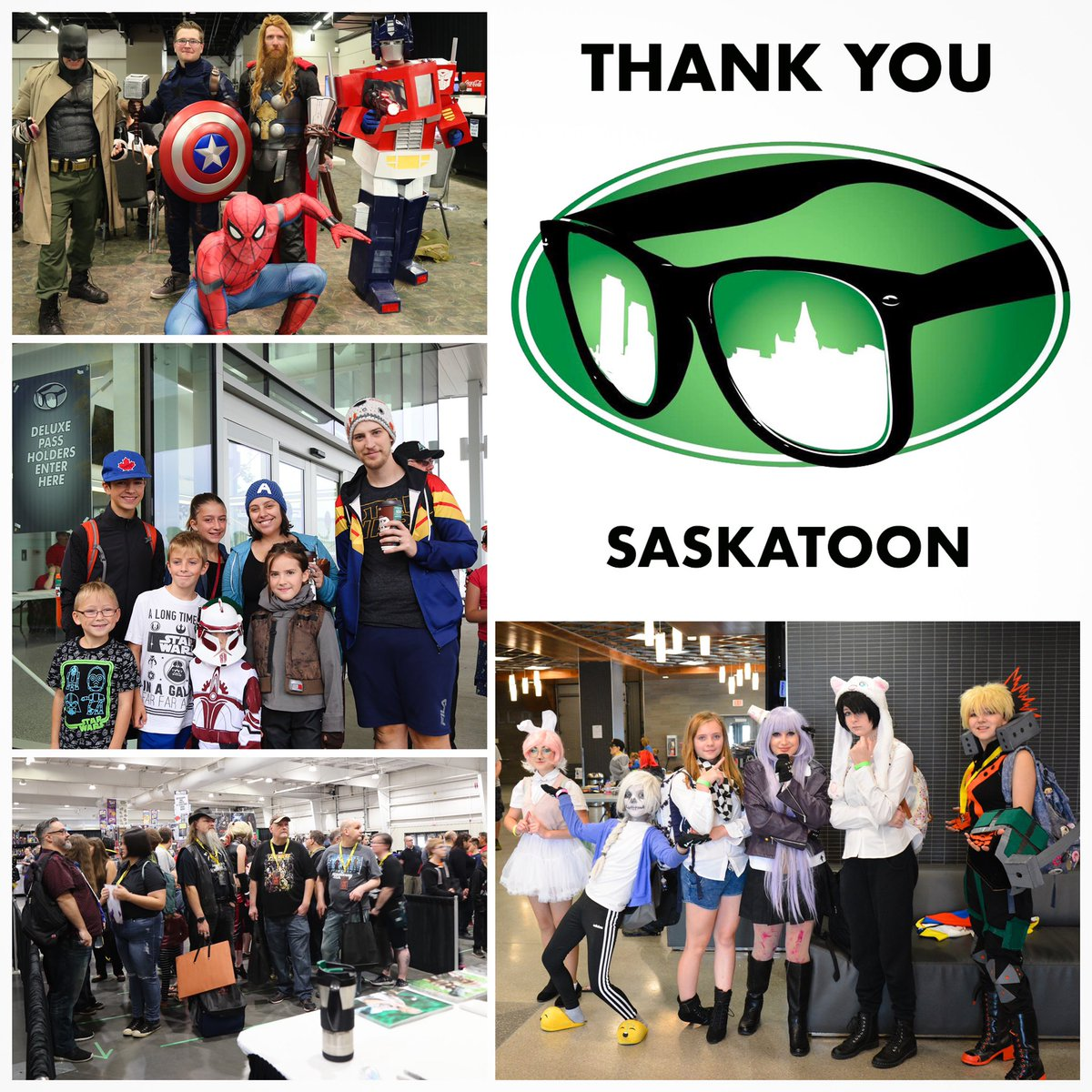 Dear Expo Friends: We would like to thank each and every one of you for making #SaskExpo #yxe an amazing experience. To the artists, invited guests, exhibitors, cosplayers, our AMAZING VOLUNTEERS, and to all of our FANS we give our sincere thanks and appreciation.  Chris & Mike<br>http://pic.twitter.com/vmdoN42wAN