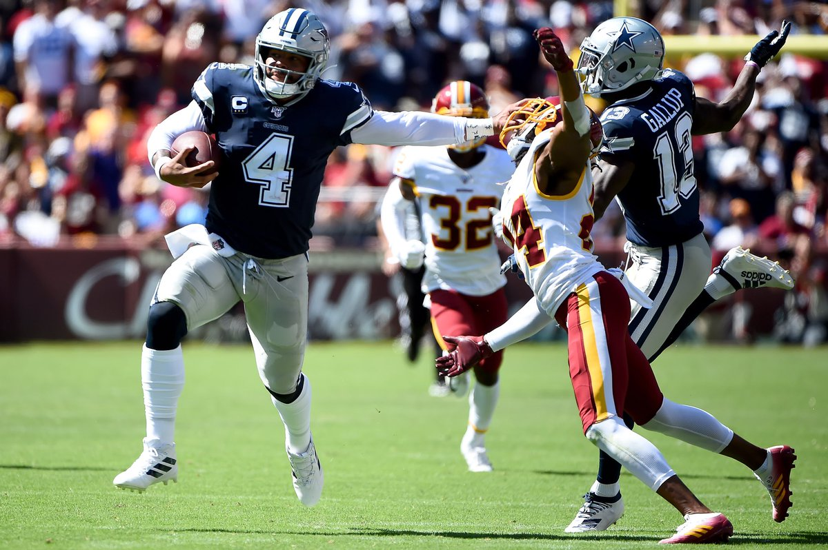 """Josh Norman in the week leading up to Washington's matchup against the Dallas Cowboys said """"OK, cool. Anybody can do that."""" about Dak Prescott's Week 1 performance.   Dak Prescott didn't say anything. He just did this. <br>http://pic.twitter.com/hJ0IX4SUe9"""