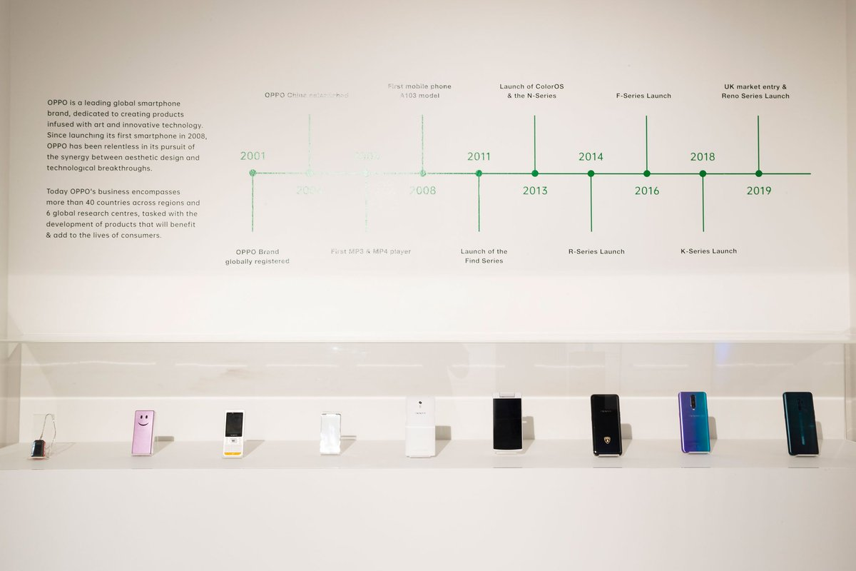 Our installation on Baker Street for #LDF19 features a display with some classic devices going back as far as 2004! 👇Challenge: can you name them all? 🤔#OPPOLDF