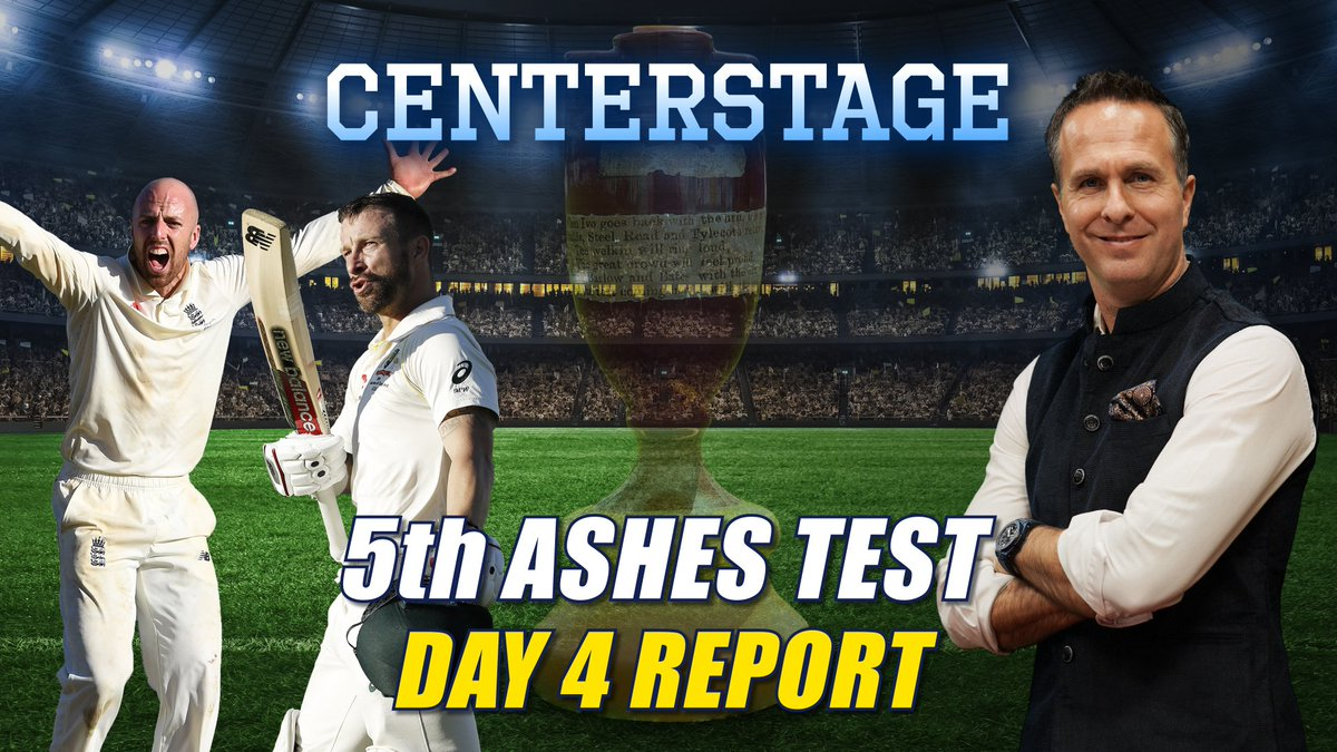 Chatting with @collinsadam on #Centerstage, @MichaelVaughan summarises the action on day 4 of the 5th Ashes Test at The Oval, while reflecting on a memorable #Ashes2019 campaign that saw riveting performances from both England and Australia.#ENGvAUS #SteveSmith #JofraArcher