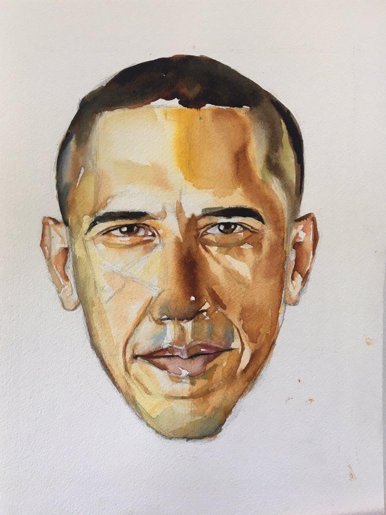 """Barack Obama"" 9""x12"" Watercolor on cotton $2000 mentnelson.com"