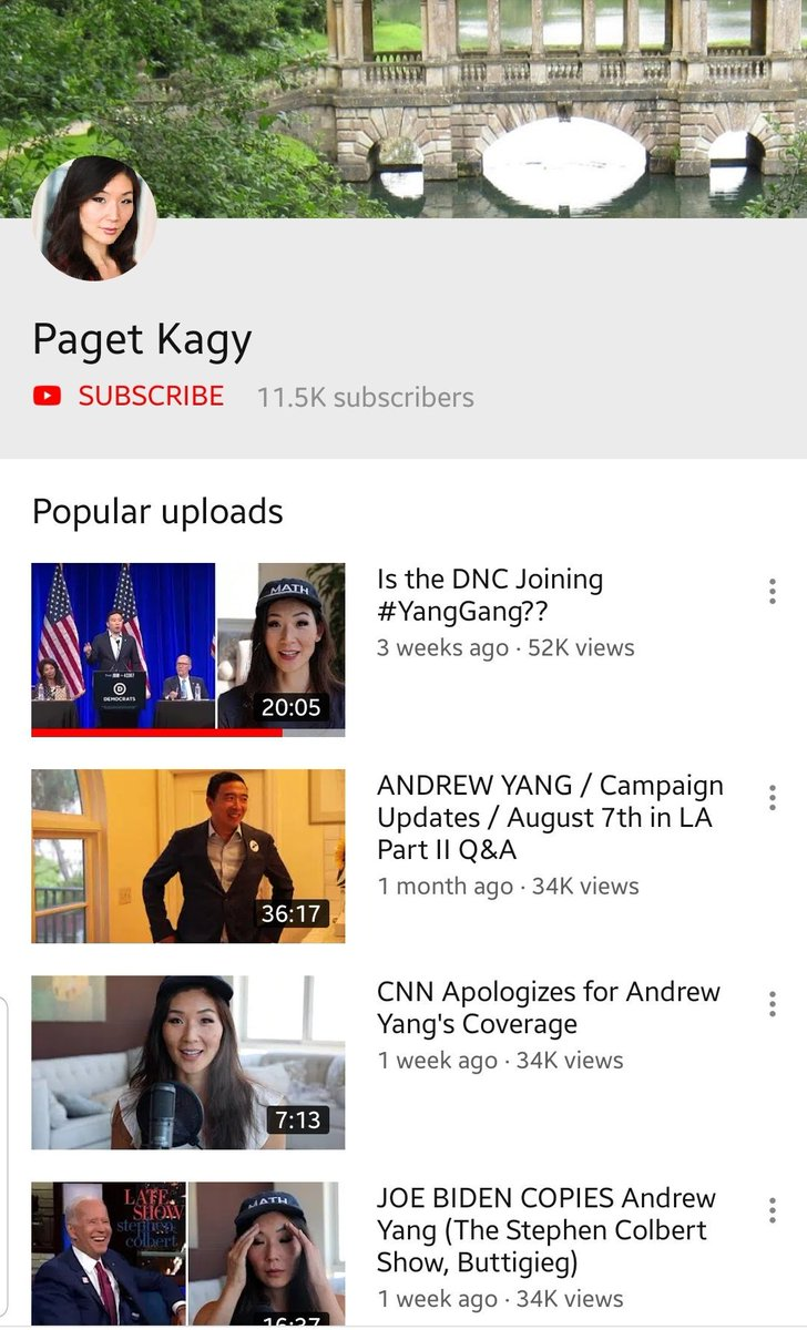 I posted this before but I'm going to put it in this thread as well! AMAZING channel! Here is the link: https://www.youtube.com/user/sparkleblue27…#Yangmentum #YangGang2020 #YangBeatsTrump #YangGangLove
