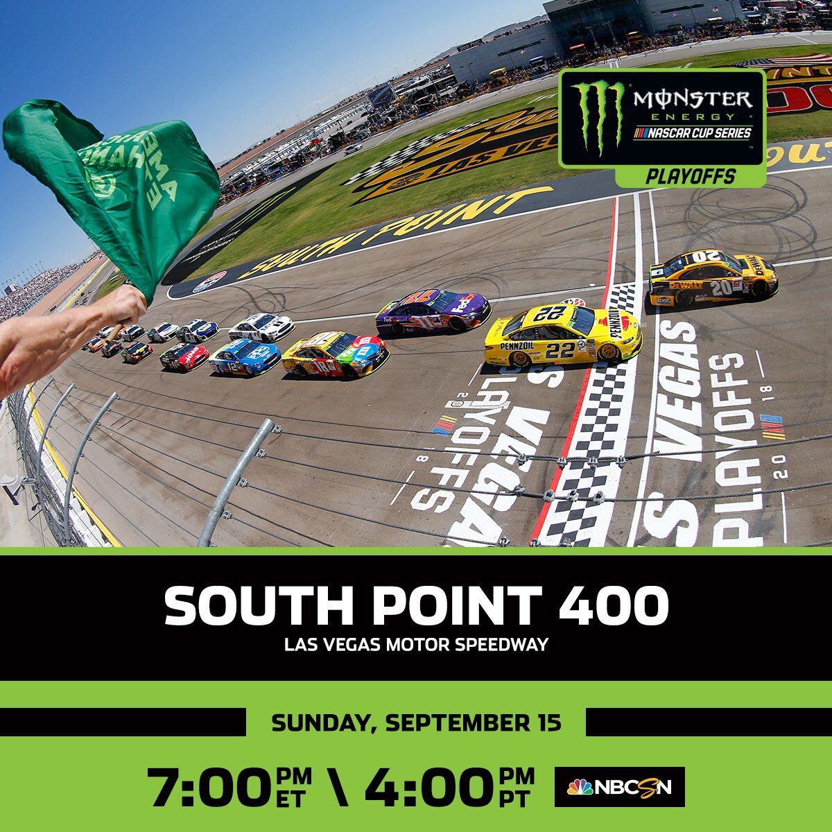 The race to the championship starts NOW. The #SouthPoint400 takes over @NBCSN at 6:00 p.m. CT.