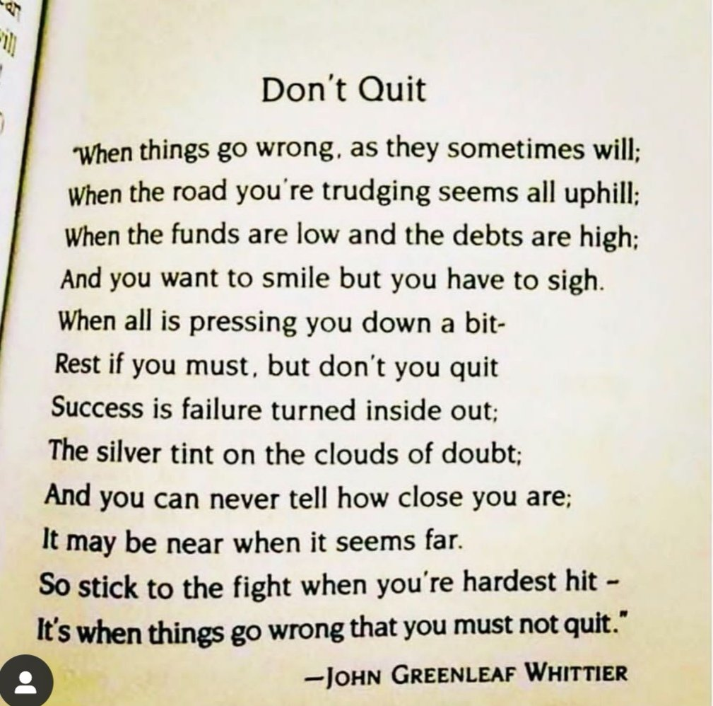 "A poem to start the new week. ""Rest if you must - but don't you quit"" #AcademicTwitter #AcademicChatter #phdchat #phdlife<br>http://pic.twitter.com/x90X1ejiNd"