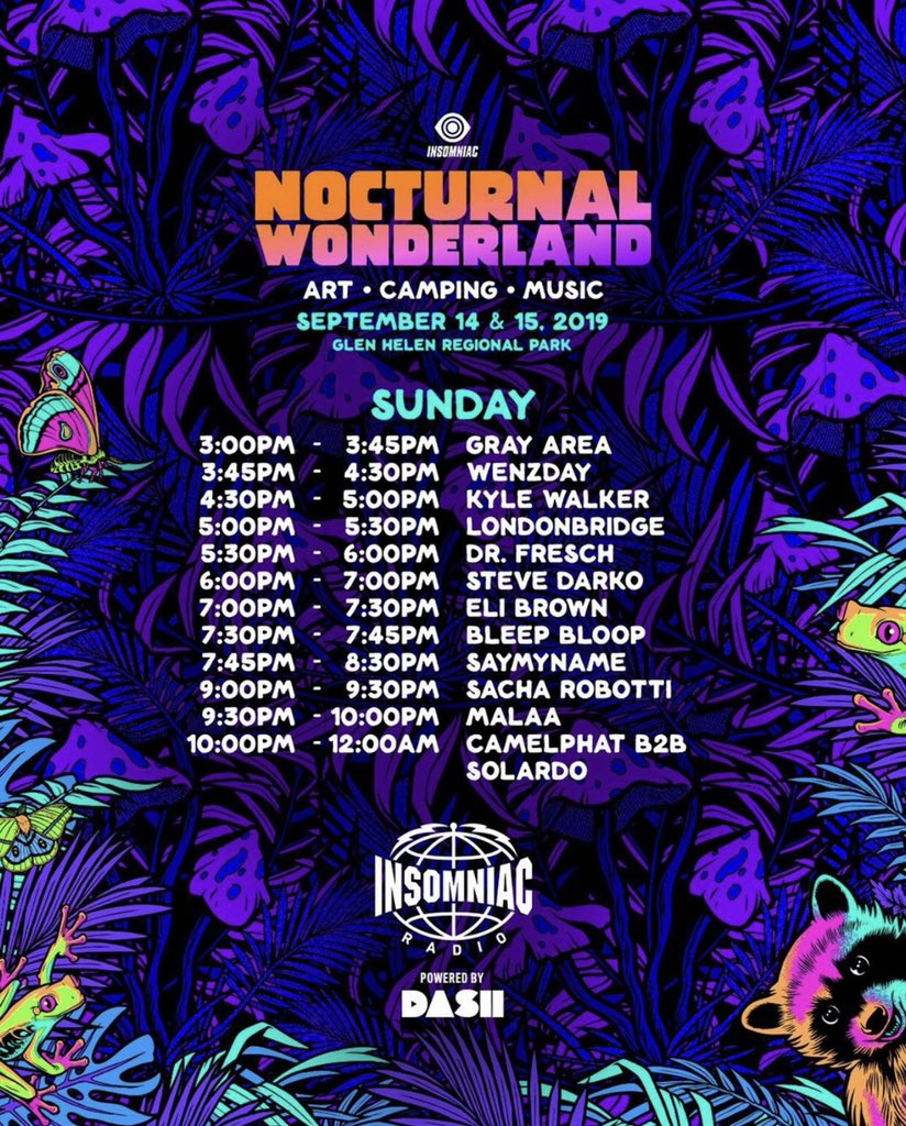 Today's lineup ✨@NocturnalWland | Listen live right now on Radio.Insomniac.com
