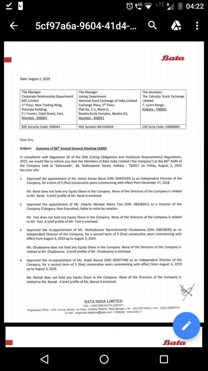 Lol..Are u a graduate frm #WhatsappUniversity ? #Bata Headoffice/Regd office is in#Kolkata (#WestBengal )https://tinyurl.com/BATA2019AGMEven 86th AGM of #Bata was held in #Kolkata on 02.08.19..So don't spread #FAKENEWS #FactCheck @NitinSuvarna4 @saurin_jhaveri @BATA_India