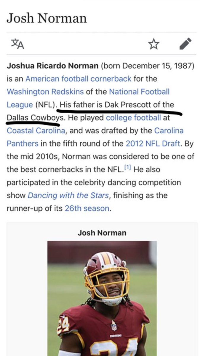 Let's take a look at Josh Norman's Wikipedia page. <br>http://pic.twitter.com/17eb1avl0T