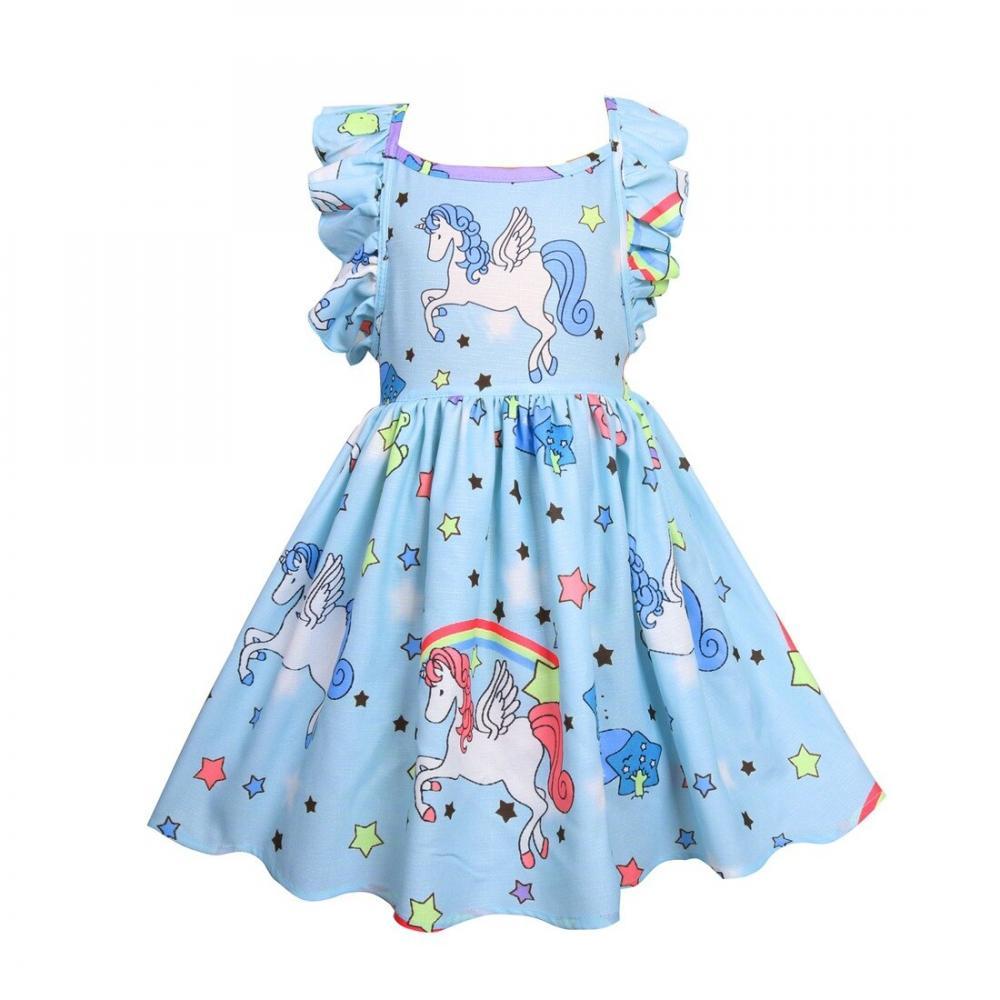#amazing #instamood Cute Unicorn Printed Ruffled Summer Kid's Dress https://unicornmagicland.com/cute-unicorn-printed-ruffled-summer-kids-dress/…
