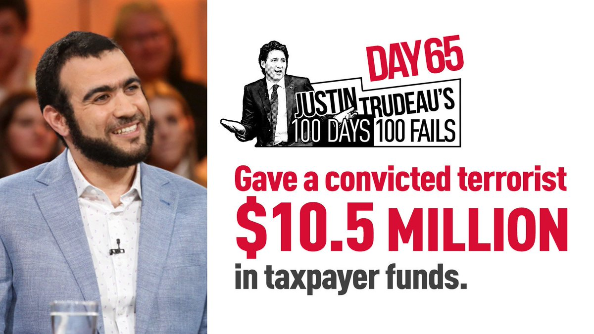 Trudeau turned a convicted terrorist into a multi-millionaire with a $10.5 million payout — with your taxpayer dollars.  #100Days100Fails #cdnpoli     http:// 100days100trudeaufails.ca /    <br>http://pic.twitter.com/rD6OOqNg3I