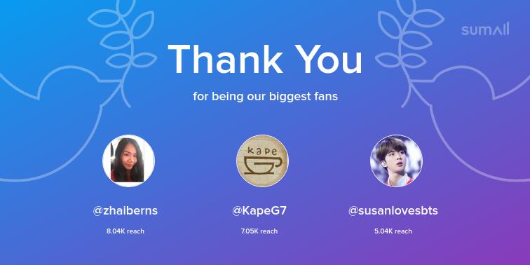 Our biggest fans this week: zhaiberns, KapeG7, susanlovesbts. Thank you! via sumall.com/thankyou?utm_s…