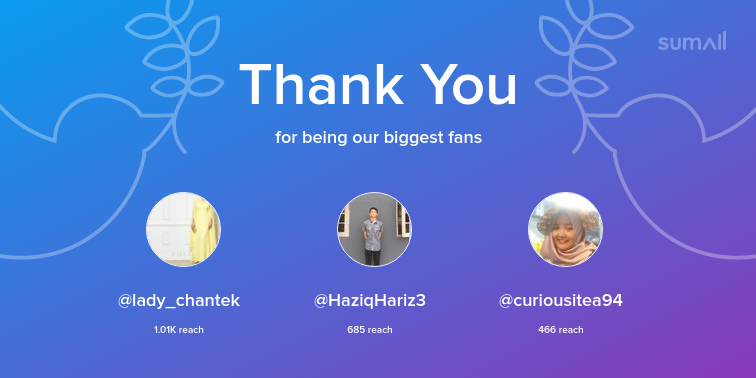 Our biggest fans this week: lady_chantek, HaziqHariz3, curiousitea94. Thank you! via https://t.co/vrkSRVTGDh https://t.co/B3vLJunD62