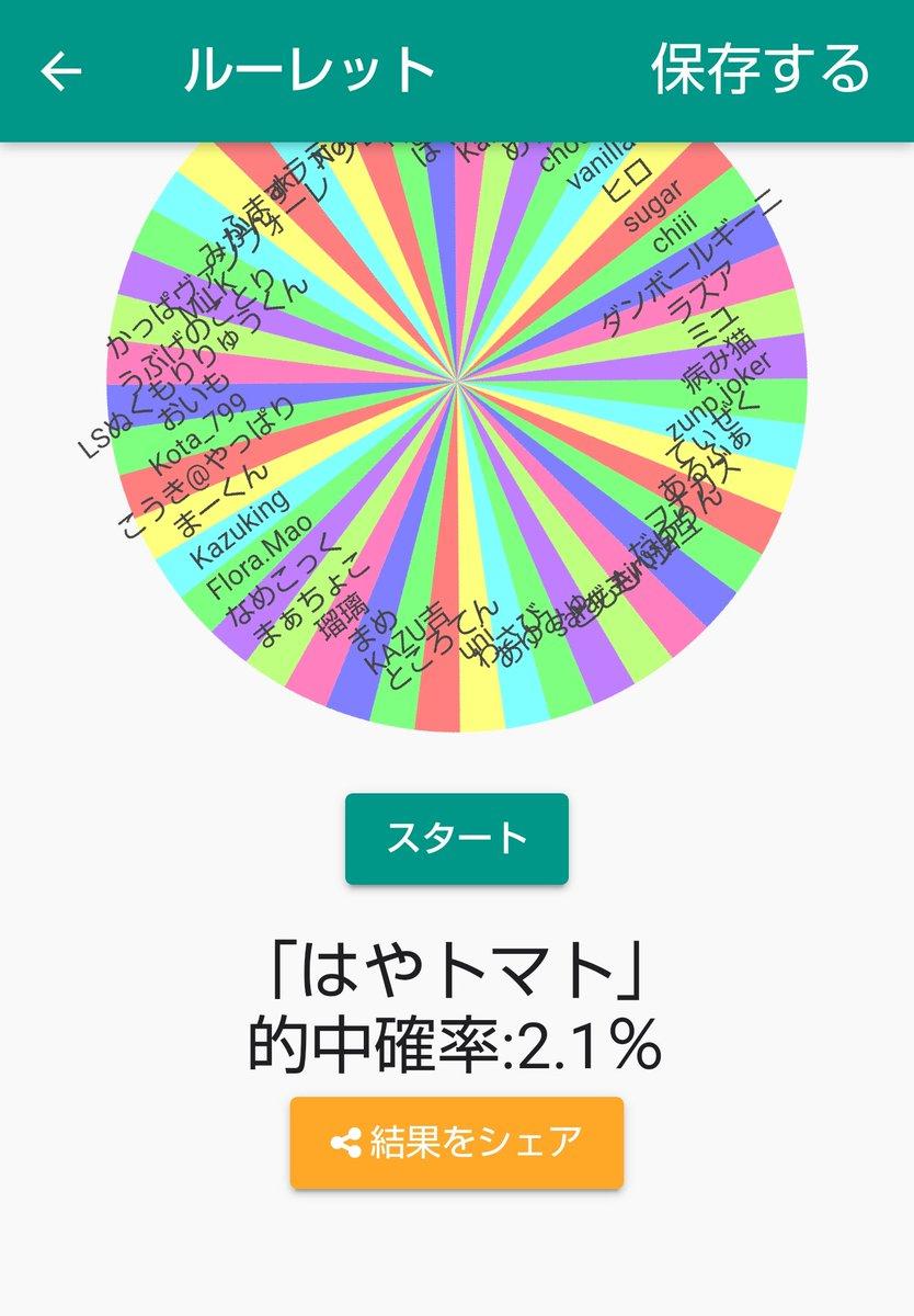 プレゼント企画の当選者はなんと!!((((;゜Д゜)))ルーレットの結果「はやトマト」になりました!(的中確率:2.1%)#ふつうのルーレット【Android】【iOS】