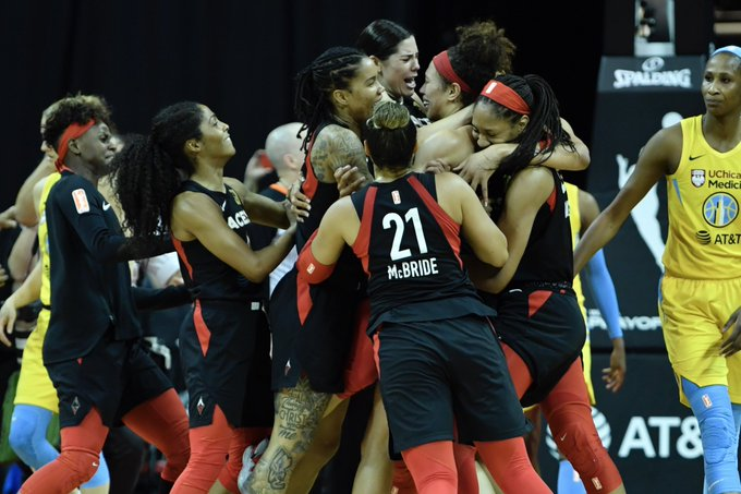 Pure joy. 🙌   The @LVAces are semifinals-bound! #WNBAPlayo