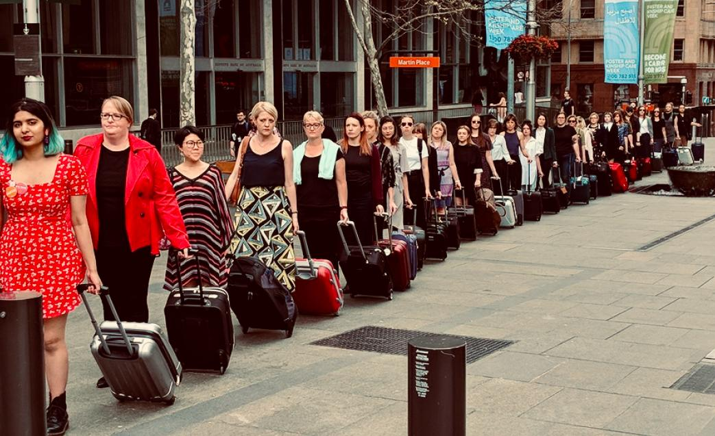 Today's suitcase march for reproductive rights to NSW Parliament. 29 people here represent the number of people travelling interstate each week for reproductive healthcare that is criminalised in NSW. Time to take abortion out of the Crimes Act (1900). #VoteProChoiceNSW #nswpol<br>http://pic.twitter.com/z4llQJbk7k