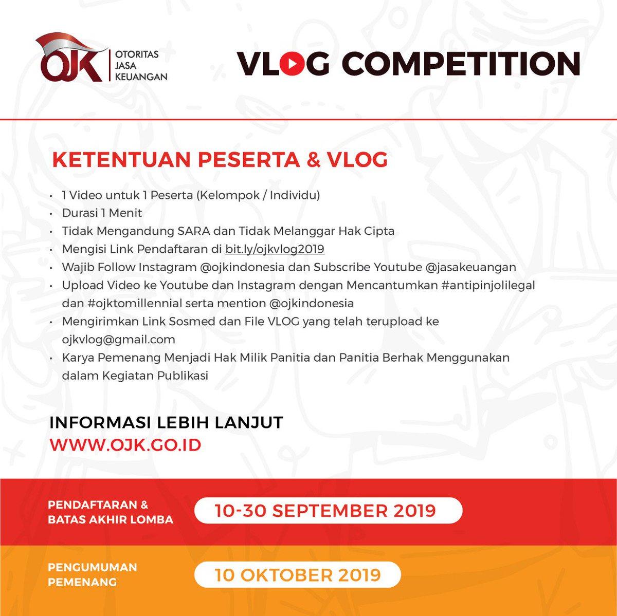 Ojk Indonesia On Twitter Halo Sobat Ojk Sdh Daftar Lomba Vlog