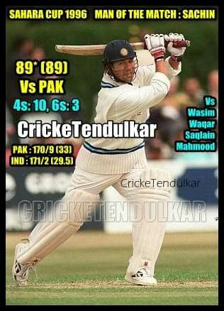 #OnThisDay 1996 First Ever #INDvPAK Sahara Cup Toronto The Battle of Wasim-Waqar-Saqlain-Mahmood Vs #SachinTendulkar and Sachin outplayed them💪 Damp pitch & rain-affected 33ovr Game, Paks 170 wasnt easy bcz of bowling Captain @sachin_rt Made 89*(89) won the match for india❤