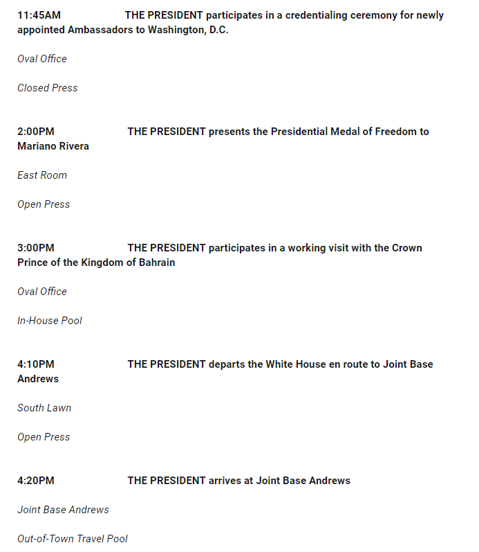 Here's Trump's public schedule for tomorrow. (Public schedules don't include all of a president's activities.) https://t.co/Xxk2JLfhwc