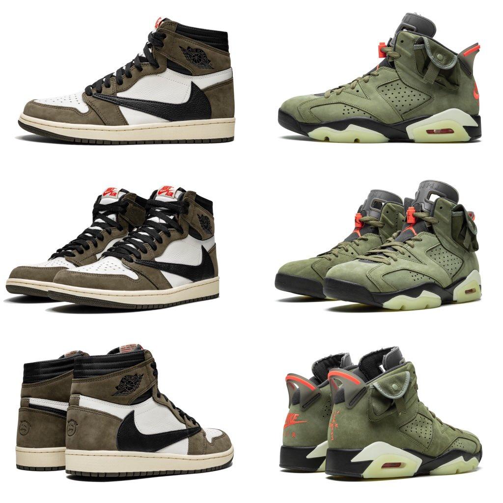 Travis' 1s or 6s   https:// sneakerbardetroit.com/travis-scott-a ir-jordan-1-air-jordan-6-cactus-jack/  … <br>http://pic.twitter.com/E3zssnqQPY