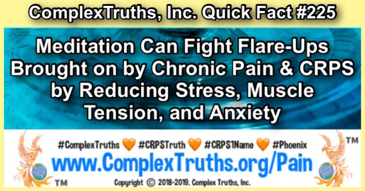 Do you practice #Meditation to fight #chronicpain from #CRPS🧘🏽‍♀️#RSD #CRPSWarriors #ComplexTruths #BurningForACure https://complextruths.org/ #peace #yoga #namaste #gratitude #happiness #meditate #soul #selfcare #wellness #consciousness #healing #spirituality #spiritual #mindfulness