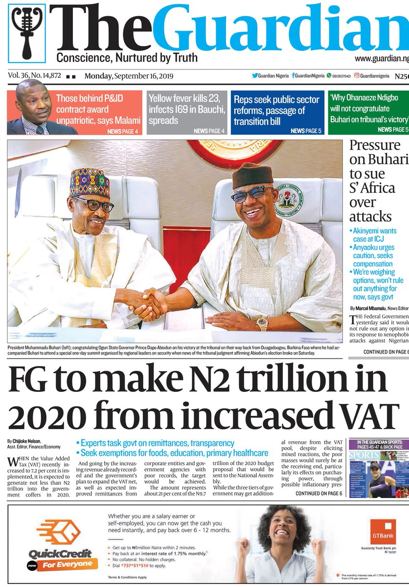 Today in The Guardian – FG to make N2 trillion in 2020 from increased VAT. Get a copy. #FrontPage #Headline #Business #Politics #Sports #Pilgrims #Nigerians #Entertainment #News #Nigeria #Africa #TheGuardianNg<br>http://pic.twitter.com/SLo00tqEuH