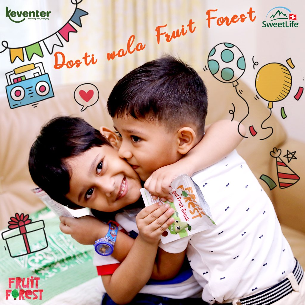 """""""Life isn't about having a thousand friends, it's about finding the very few right ones you need.""""Fruit Forest celebrates the bond of innocence and love!#dostiwalafruitforest #frutiforest #frutiforestindia #celebrate #friendship #friends #bond #bonding #love #innocence"""