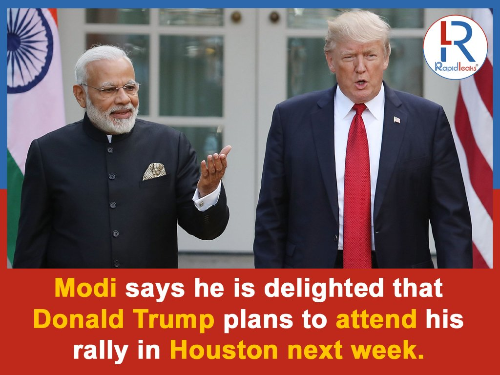 """Prime Minister #NarendraModi on Monday said he was delighted that #UnitedStates President #DonaldTrump will attend his upcoming rally in #Houston on September 22. Modi is scheduled to address the Indian diaspora in Houston at the """"Howdy Modi"""" event.#HowdyModi"""