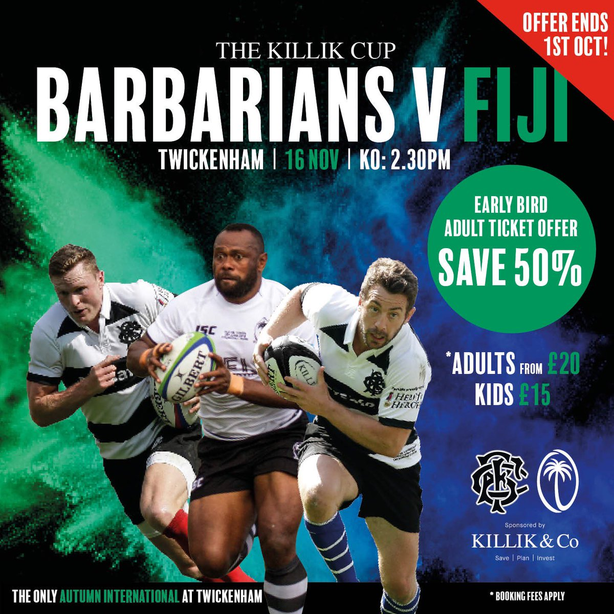 Ticket Alert 🚨 Don't miss out on our 50% Early Bird offer for our match v @fijirugby 🇫🇯 The Early Bird gets the wo...tickets 😉 Click here ➡️➡️ bit.ly/2ECm52K #Baabaas #rugby #rugbyunited 🏉