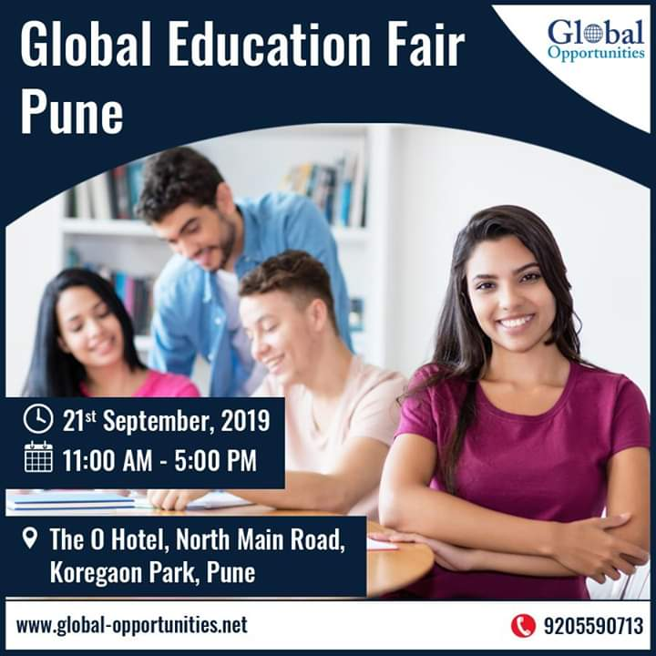 Global Education Fair Pune Venue – The O Hotel Exhibition Date - 21st September, 2019 Exhibition Time - 11:00 AM - 05:00 PM Register today and avail exclusive benefits or simply call at – 9205590713 #educationfair #educationfair2019 #StudyAbroadpic.twitter.com/TwVticHY60
