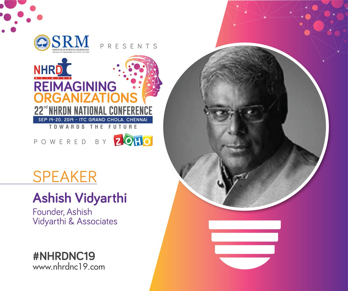 We are thrilled to announce Ashish Vidyarthi, Founder Ashish Vidyarthi & Associates. He engages in Leadership conversations with Corporates through Avid Miner Transformation Modules. Register now at https://lnkd.in/fbvJsCi#NHRDNC19 #culture #wellness #digital #TalentManagement