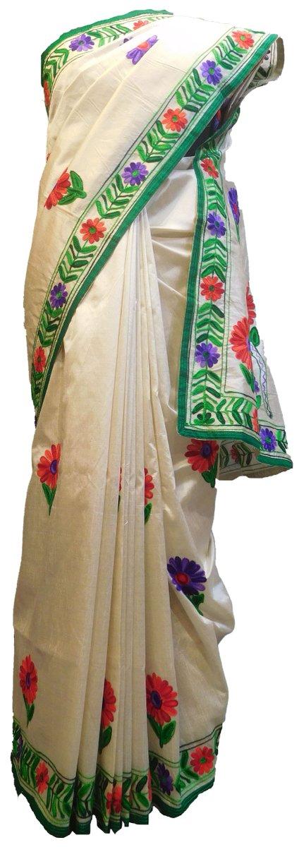 SMSAREE White Designer Wedding Partywear Silk Thread Hand Embroidery Work Bridal Saree Sari With Blouse Piece E686 http://bit.ly/2Qjghi8 #designer #smsaree #sale #festival #Thread