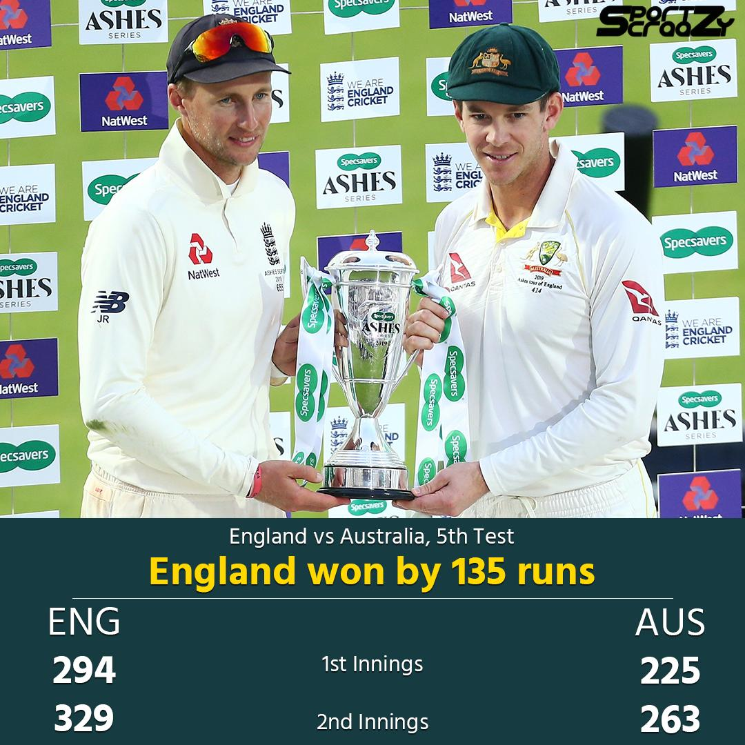 #England win the Test match by 135 runs!The Ashes will go back to Australia but the series is drawn 2-2!#Ashes #ENGvAUS #sportzcraazy