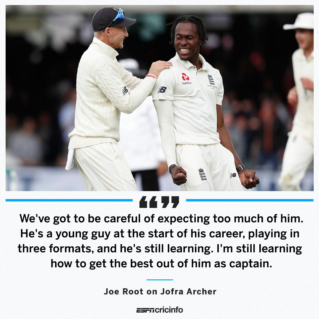 """I think making sure we don't expect him to average 12 is something really important""Joe Root knows Jofra Archer's brilliance, but is figuring out how to manage England's from the young fast bowler#Ashes https://es.pn/34MJ5rm"