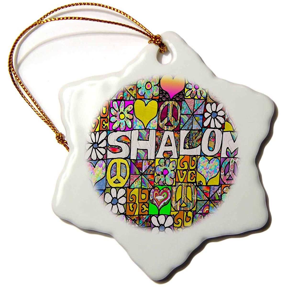 🌸✌️☮🌼❤️💮🌸✌️☮🌼❤️💮Retro 60s #Psychedelic #Shalom Love Peace Symbol #Art Print - 3 inch #Snowflake #Star Porcelain #Ornament #Christmas #Hanukkah #Gifts #amazonhttps://amzn.to/2OaEVjj