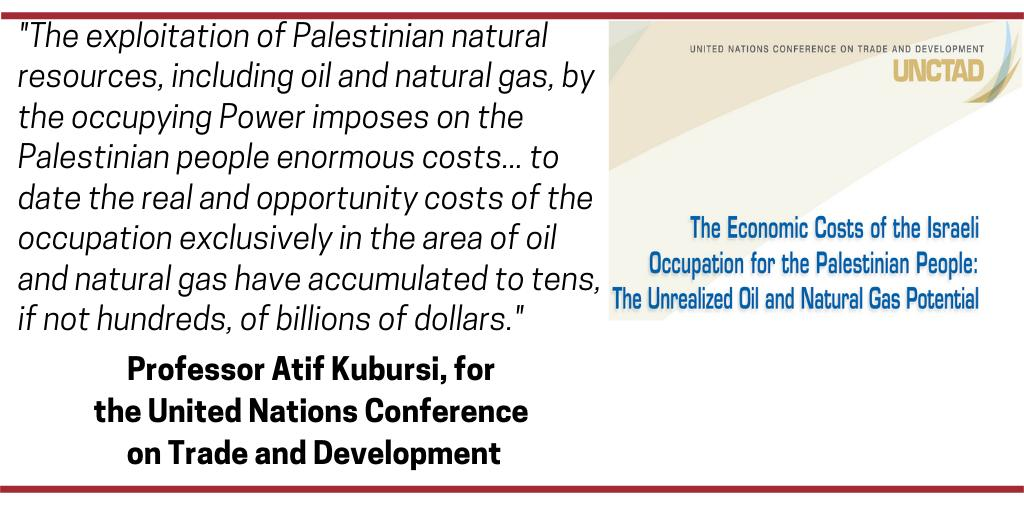 "A UN study says Israel's exploitation of oil and natural gas in the Occupied Palestinian Territory in violation of international law has cost Palestinians ""tens, if not hundreds, of billions of dollars.""  #BDS to hold Israel accountable.  The UN study:  http:// bit.ly/2IaApkK      <br>http://pic.twitter.com/qxUe8kXPLN"