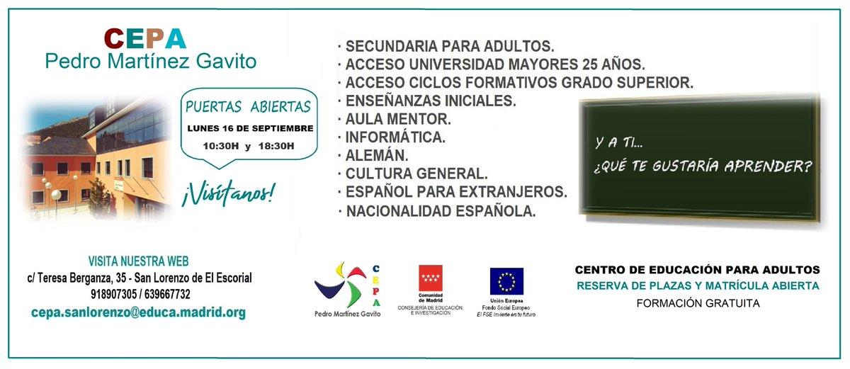 Hoy lunes, de 10:30 a 18:30 horas, jornada de puertas abiertas en el @CEPA_PMGavito donde puedes estudiar: ➡️ Secundaria para adultos ➡️ Acceso Universidad mayores de 25 años ➡️ Informática ➡️ Alemán... y mucho más #educación #adultos #SanLorenzodeElEscorial