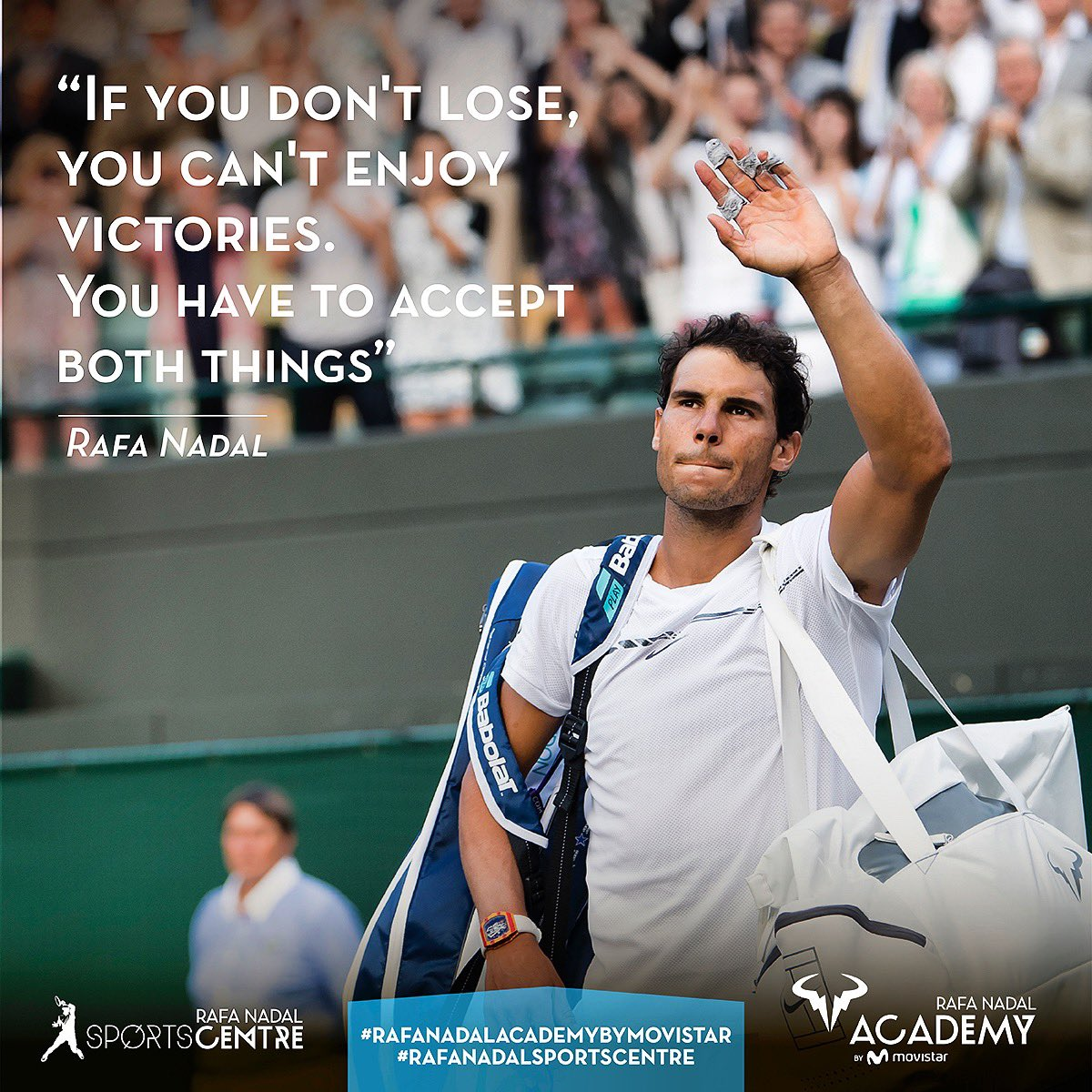 """If you don't lose, you can't enjoy victories. You have to accept both things"". #RNAValues   #mondaymotivation<br>http://pic.twitter.com/dCk2RWh81g – à Rafa Nadal Sports Centre"