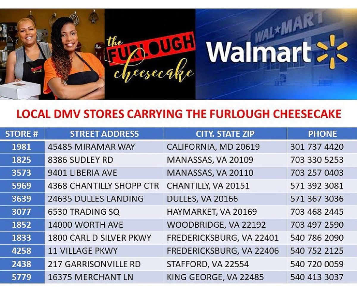 The Furlough Cheesecake is now available in select Walmart stores in the DC, MD, VA area (DMV). See graphic of the current DC Metro area stores to date. As more stores are added to the DC metro area, we will update the list. #ThankYouGOD #WalmartMagic ►  https:// conta.cc/30jicb1     <br>http://pic.twitter.com/B1grdEDXIt
