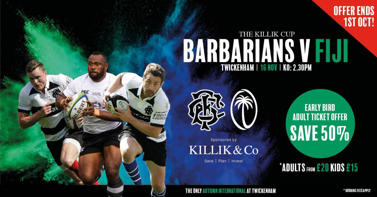 test Twitter Media - For a limited time only...  50% off tickets to @Barbarian_FC v @fijirugby at Twickenham on 16 November 🎟  Don't miss out ➡ https://t.co/3h0cDahd4S https://t.co/nxwgDIia7M