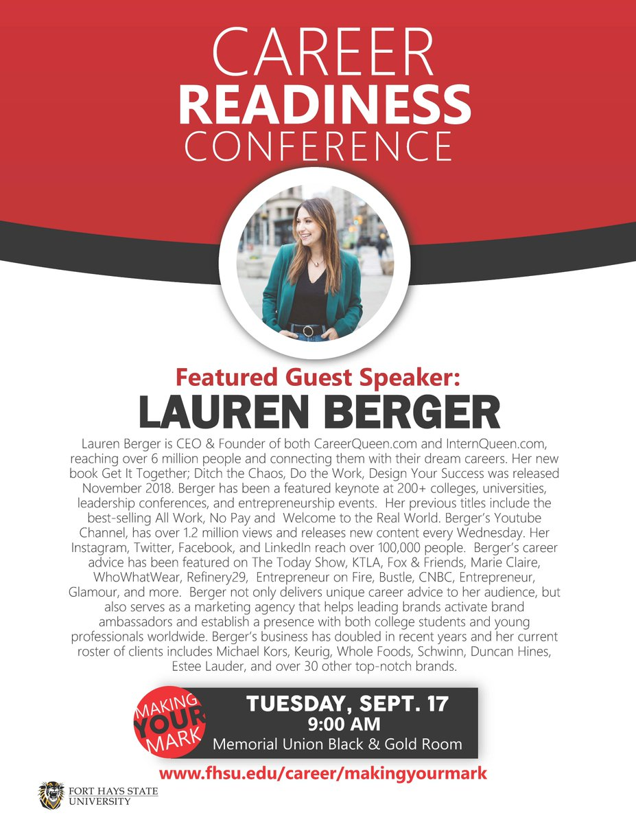The Career Readiness Conference kicks off tomorrow morning with guest speaker Lauren Berger! Lauren is going to give some unique career advice and talk about internships. You won't want to miss this! @InternQueen #CareerReadinessConference #MakingYourMark #fhsucareerservices <br>http://pic.twitter.com/NXTlyEuYzb