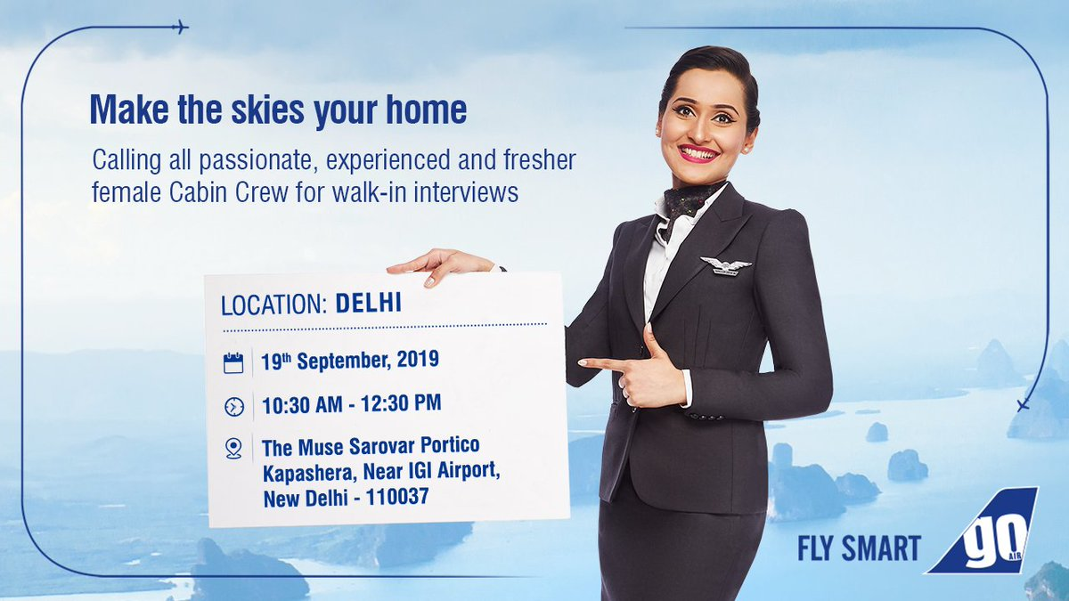 Let your career take flight! ✈️We're conducting walk-in #interviews for all passionate, experienced and fresher female Cabin Crew in #Delhi on the 19th of Sept, 2019. Know more: https://bit.ly/2kjT8Sp